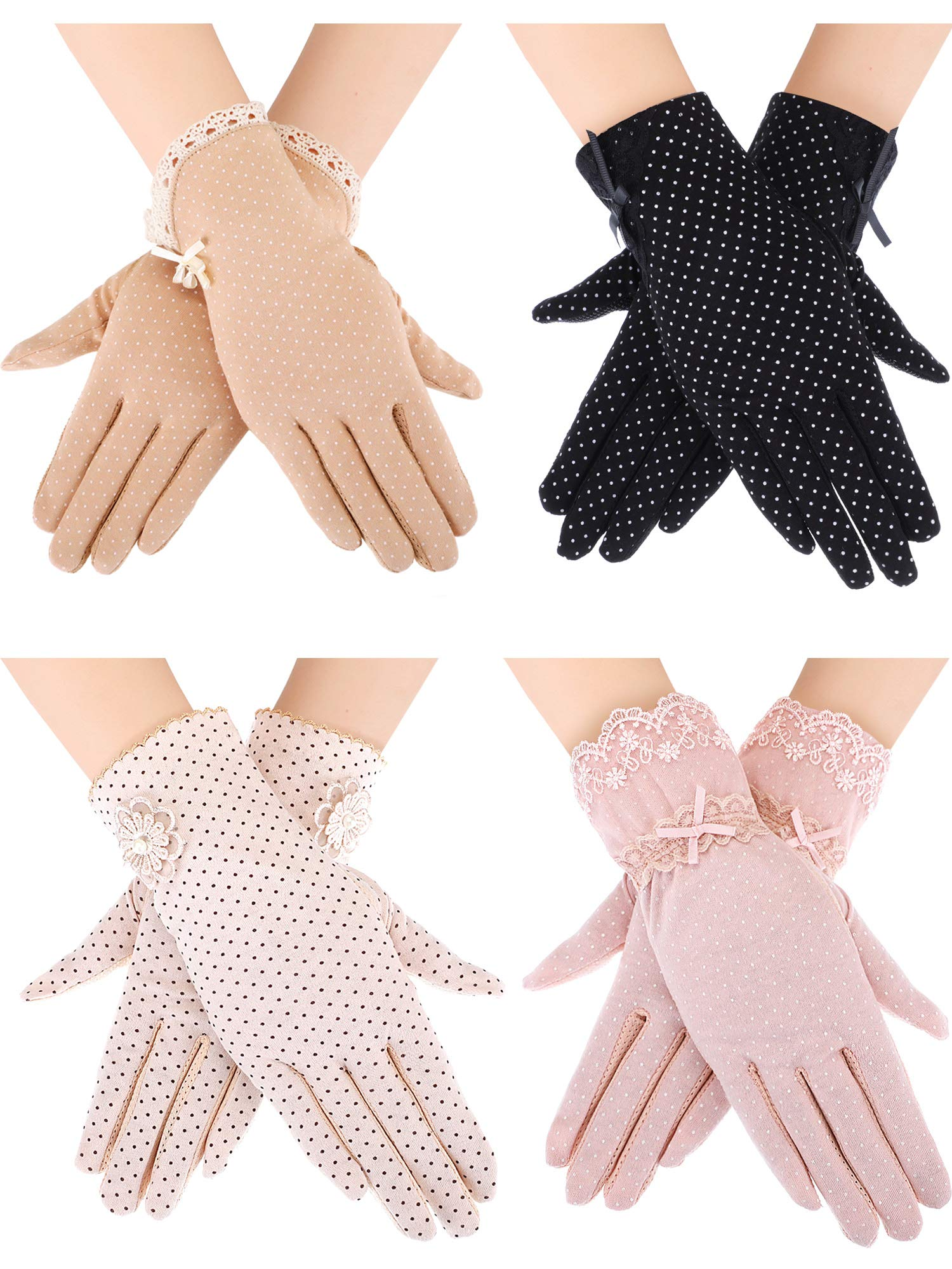 Blulu 4 Pairs Summer UV Protection Sunblock Gloves Non-slip Touchscreen Driving Gloves Bowknot Floral Gloves for Women Girls (Black 2, Khaki 2, Pink 2, Beige 2) by Blulu