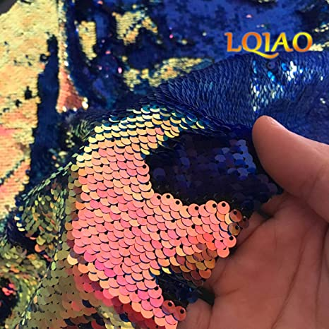 0fb751e566ef90 Amazon.com  LQIAO 1 Yard Fluorescence Gold Sequin Fabric Flip Up Mermaid  Reversible Color Changing Strips Shimmer Sequin Fabric by the Yard  Wedding Pillow ...