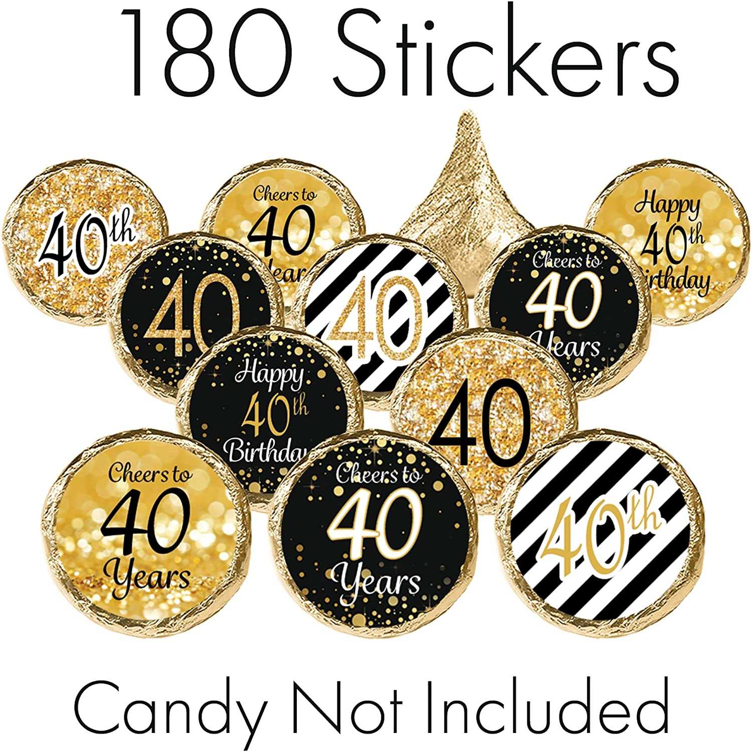 2 Round 50 Pack of Cheers to 40 Years Label Stickers Birthday Party Sticker Labels 40th Birthday Party Favor Stickers 40th Birthday Party Decoration