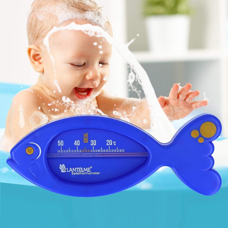 Lantelme Badethermometer 2 St/ück Set f/ür Baby und Kinder analog Badewanne Badewassertemperatur Fisch blau 7555