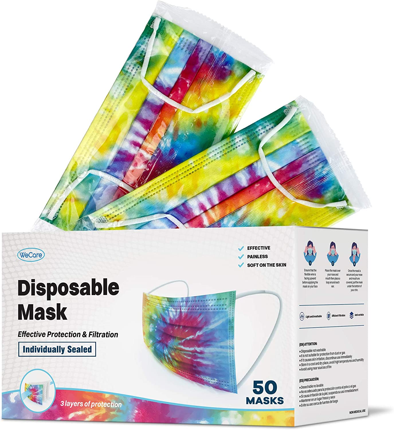 WeCare Disposable Face Mask Individually Wrapped - 50 Pack, Tie Dye Masks