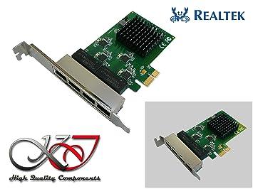 KALEA-INFORMATIQUE – Tarjeta controladora PCI Express (PCIe) – 4 Puertos RJ45 Gigabit Ethernet 10/100/1000Mbps – cuádruple Chipset Realtek – equerres ...