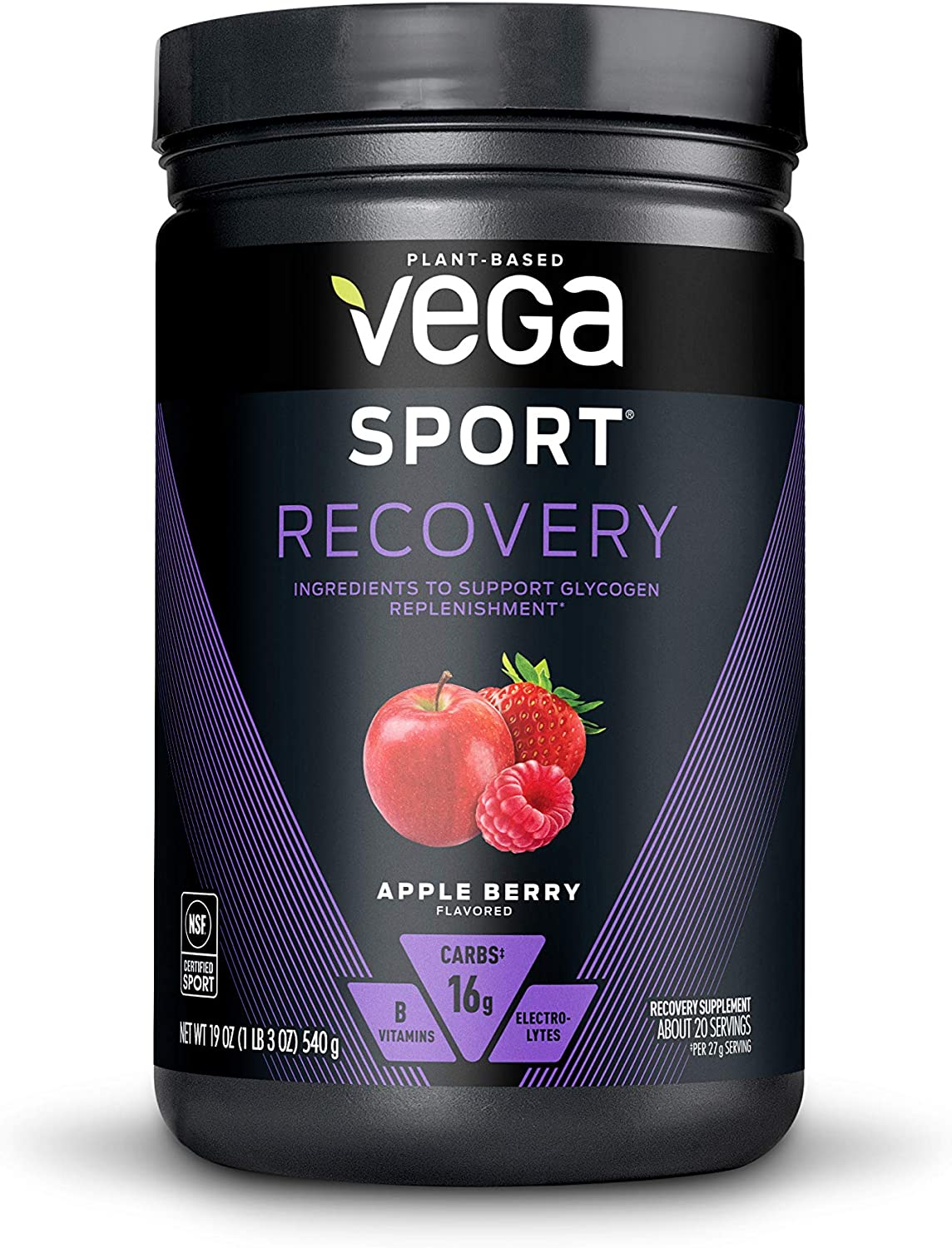 Vega Sport Recovery Post Workout Drink Mix with Electrolytes, Non GMO
