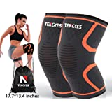 Knee Compression Sleeve ( 1 Pair / sackpack ) by Tengyes - Best Knee Support Brace for ACL, MCL, Volleyball, Powerlifting, Basketball, Running, Sports - Knee Sleeves for Women & Men (Medium, Orange)