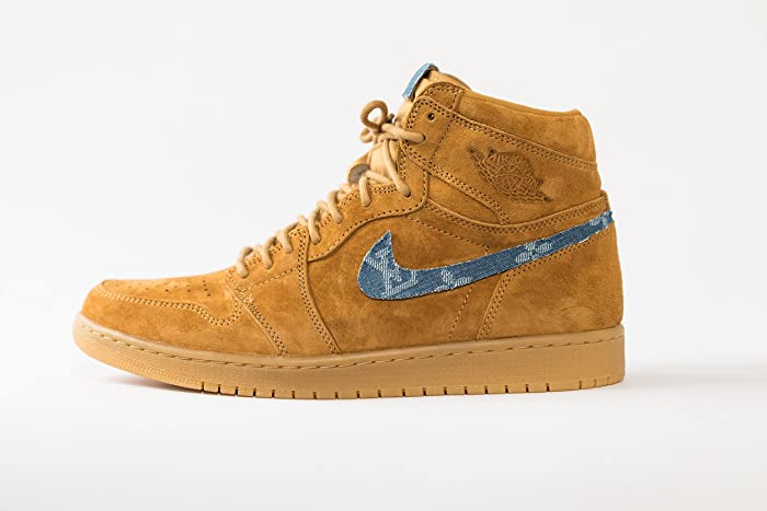 livraison gratuite 14b56 0c558 Amazon.com: Nike Air Jordan 1 Wheat Custom Mens 'LV x SUP ...