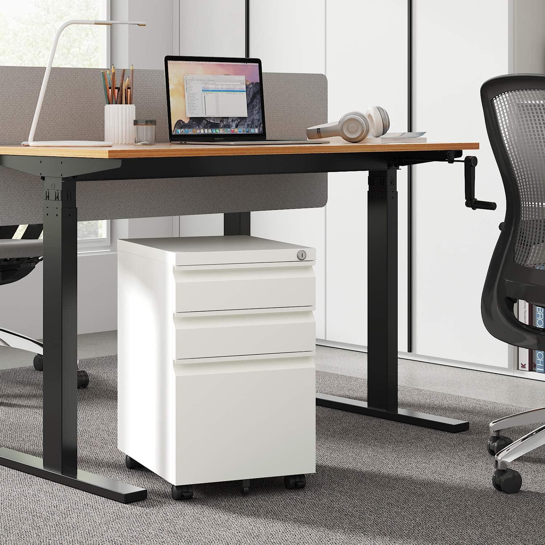 DEVAISE 3 Drawer Mobile File Cabinet Under Desk, Fully Assembled Except Casters, Letter/Legal Size, Black: Furniture & Decor