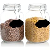 Klikel Square Glass Kitchen Storage Canister Jars - Chalkboard Canister Set - Crystal Clear Food Storage Jars with Clear Lid and Bail & Trigger Hermetic Seal - 48oz, (Set of 2)