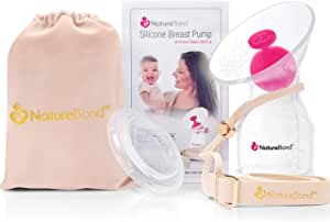 NatureBond Silicone Breastfeeding Manual Breast Pump Milk Saver Nursing Pump. All-in-1 Pump Strap, Stopper, Cover Lid, Carry Pouch, Air-Tight Vacuum Sealed