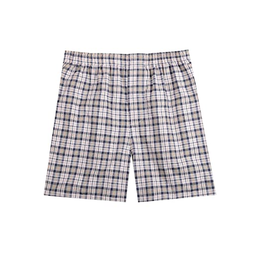 088edad5be89 B-01 Men's Woven Boxer Shorts Cotton Trunks Button Plaid Briefs Checkered  Underwear(23