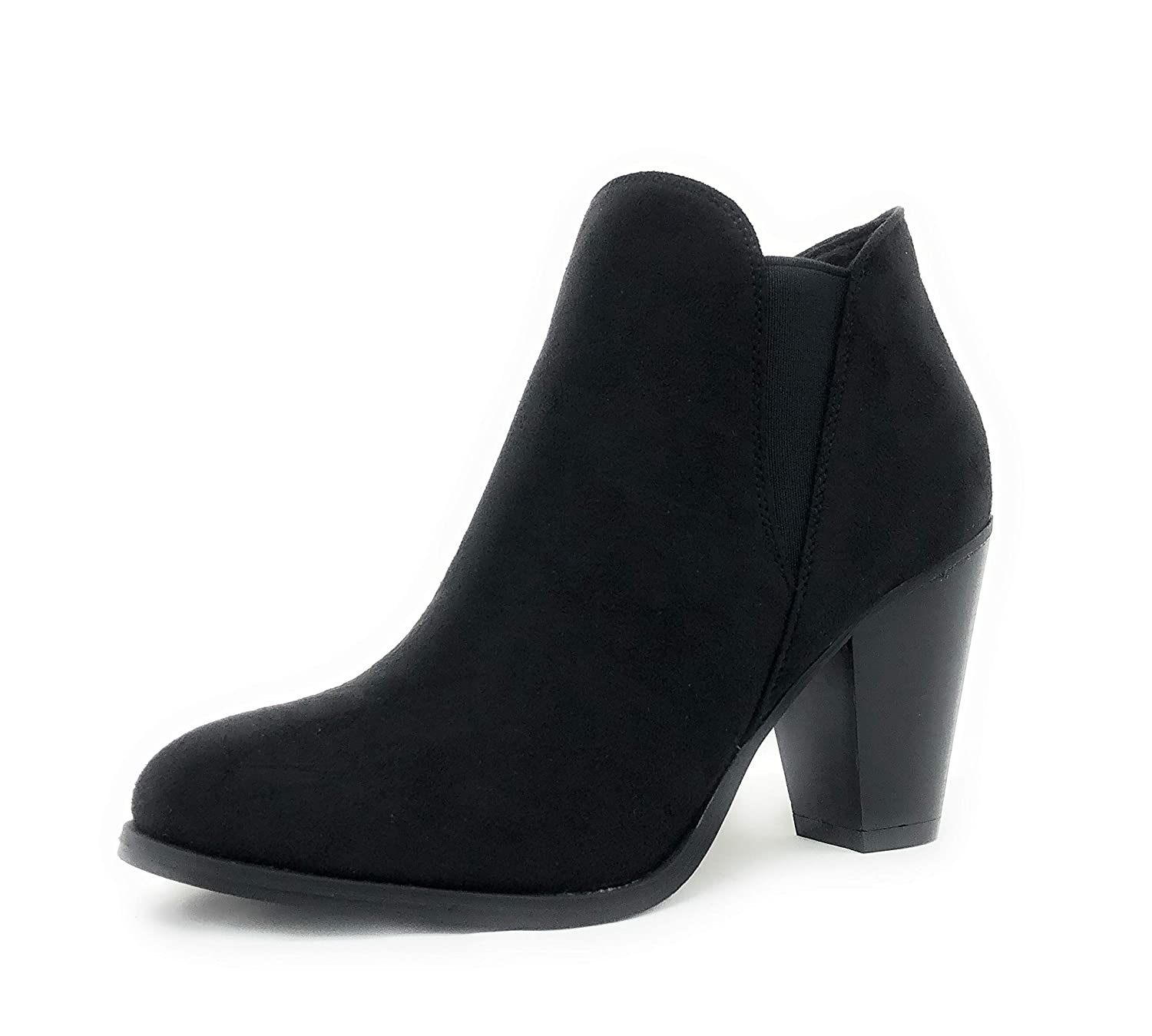 Black-camila-16 SOLE COLLECTION Faux Leather Suede Strap Side Zipper Chunky Block Heels Dress Ankle Boots