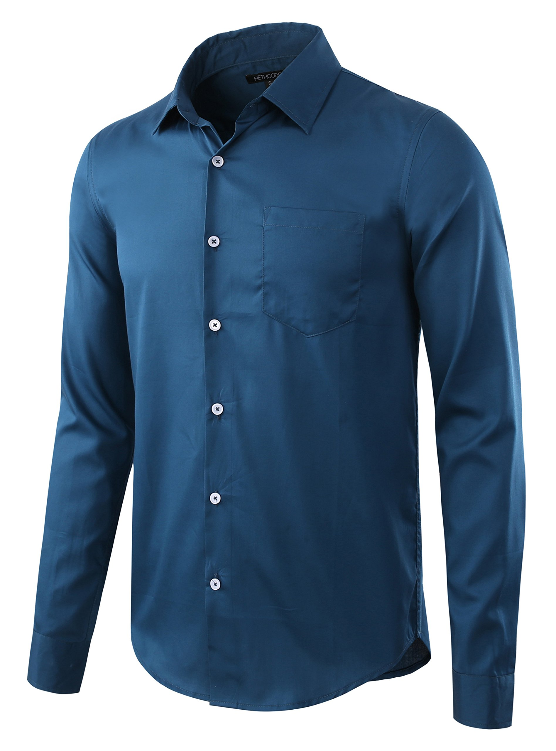 HETHCODE Men's Business Casual Slim-Fit Long-Sleeve Solid Dress Shirt Pacific Green M