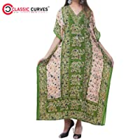 Classic Curves Women's Ethnic Print Kaftan Long Tribal Caftan Plus Size Loose Maxi Dress Kaftans Civer Up Sarong Green