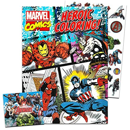 Amazon.com: Marvel Comics Coloring Book for Adults Relaxation Set ...