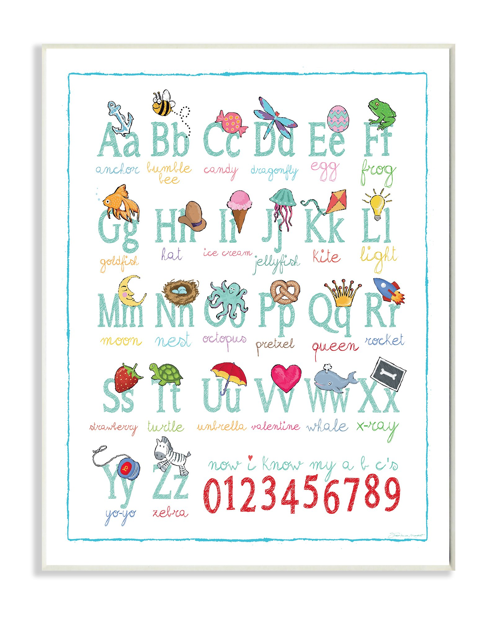 Stupell Home Décor ABCs 123s Song and Icons Wall Plaque Art, 10 x 0.5 x 15, Proudly Made in USA