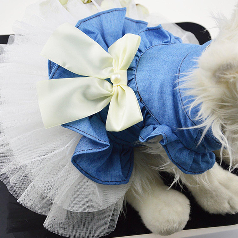 Boodtag Prinzessin Schleife Kleiner Hund Welpen Katze Tutu Kleid Hochzeit Party Pet Puppy Sundress Mesh Kleidung Bekleidung Hundkostü m Hustierkostü m fü r Feste Halloween Weihnachten