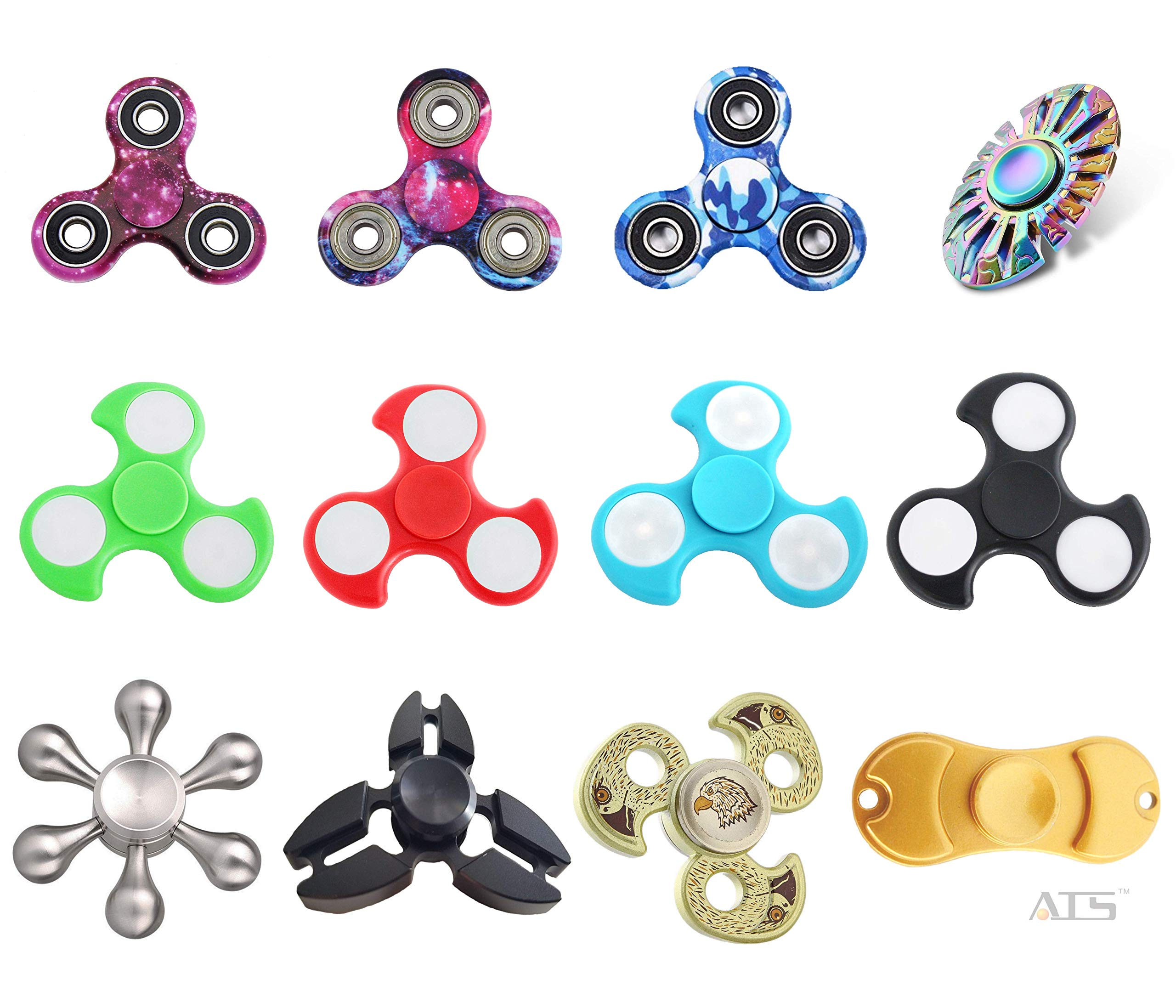 ATS 15-Pack Assorted Combo Fidget Spinners | Colors May Vary | 15 pcs Mixed Hand Spinners Bundle | Perfect Finger Toys for Stress Relief, Anxiety, Autism, ADHD | Great Present for Adults Kids