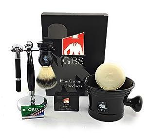 GBS Men's Double Edge Razor Shaving Set-5 PC-Black Rubber Coated Non Slip Safety Razor Mug Natural Soap 100% Synthetic Animal Free Vegan Brush,Brush & Razor Stand +15 DE Blades Alum Bloc Holiday Gift