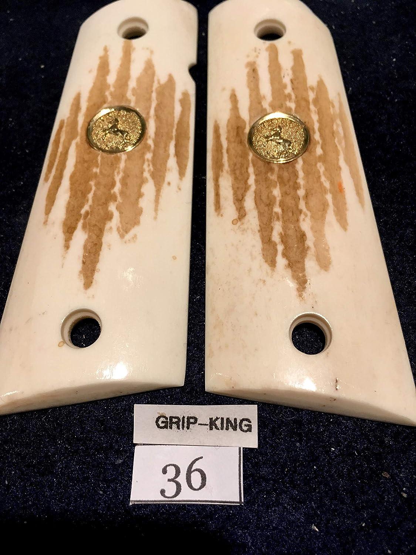 1911 GRIPS GENUINE ELK STAG,FITS COLT FULL SIZE. , GOLD