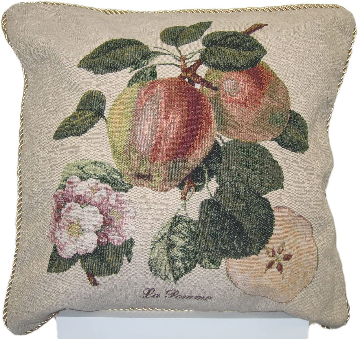 DaDa Bedding Hand-Crafted Woven Splendor of Apple Decorative Throw Pillow, 18 Inches