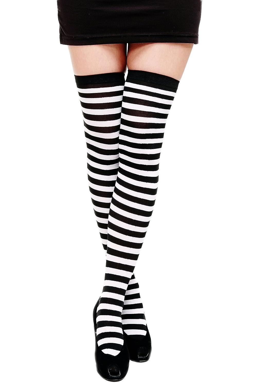 DRESS ME UP - Carnevale Cosplay Calze Overknee Calze al ginocchio Calze a righe Ragazza Nero Bianco W-001-black VK Event Fashion