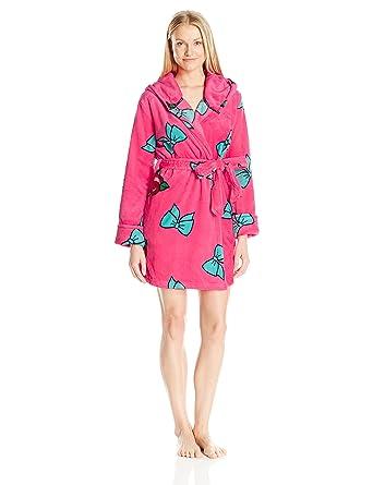Betsey Johnson Women's Pop Art Plush Robe, Betsey Bows/Roses Emoji, X-Small/Small