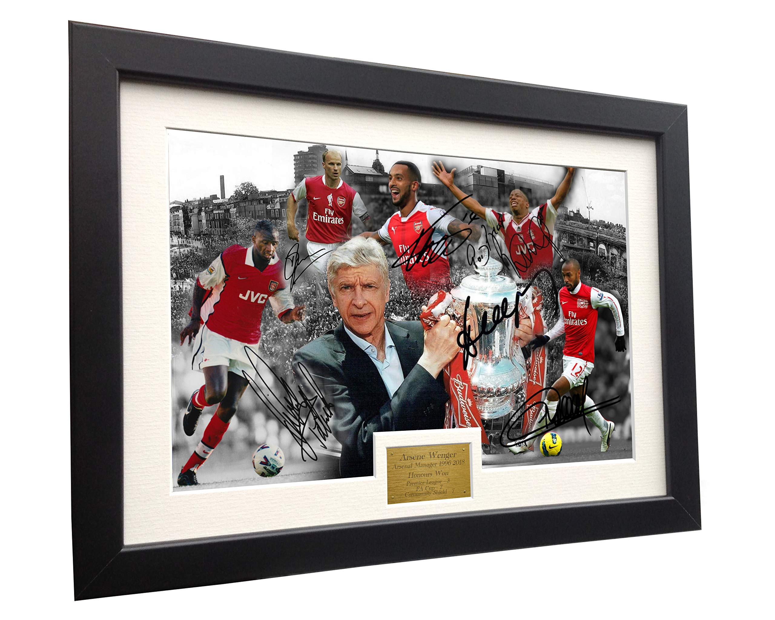 Arsene Wenger''CELEBRATION'' 12x8 A4 Signed Arsenal - Thierry Henry- Patrick Vieira- Dennis Bergkamp- Ian Wright - Theo Walcott - Autographed Photo Photograph Picture Frame Soccer Gift by Kitbags & Lockers