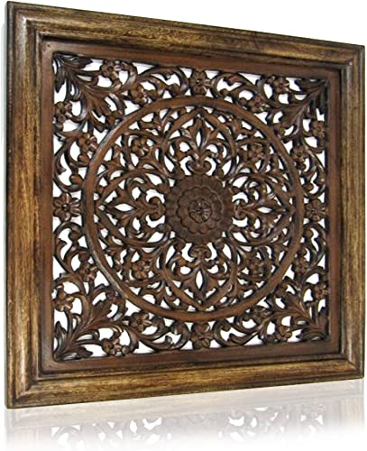 Shalimar Showrooms Large 24 Wall Panel Brown Wood Screen Room Decorative, 24 x 24