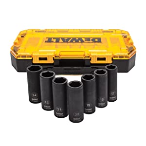 "DEWALT Deep Impact Socket Set, 7-Piece, 1/2"" Drive Metric (DWMT74737)"