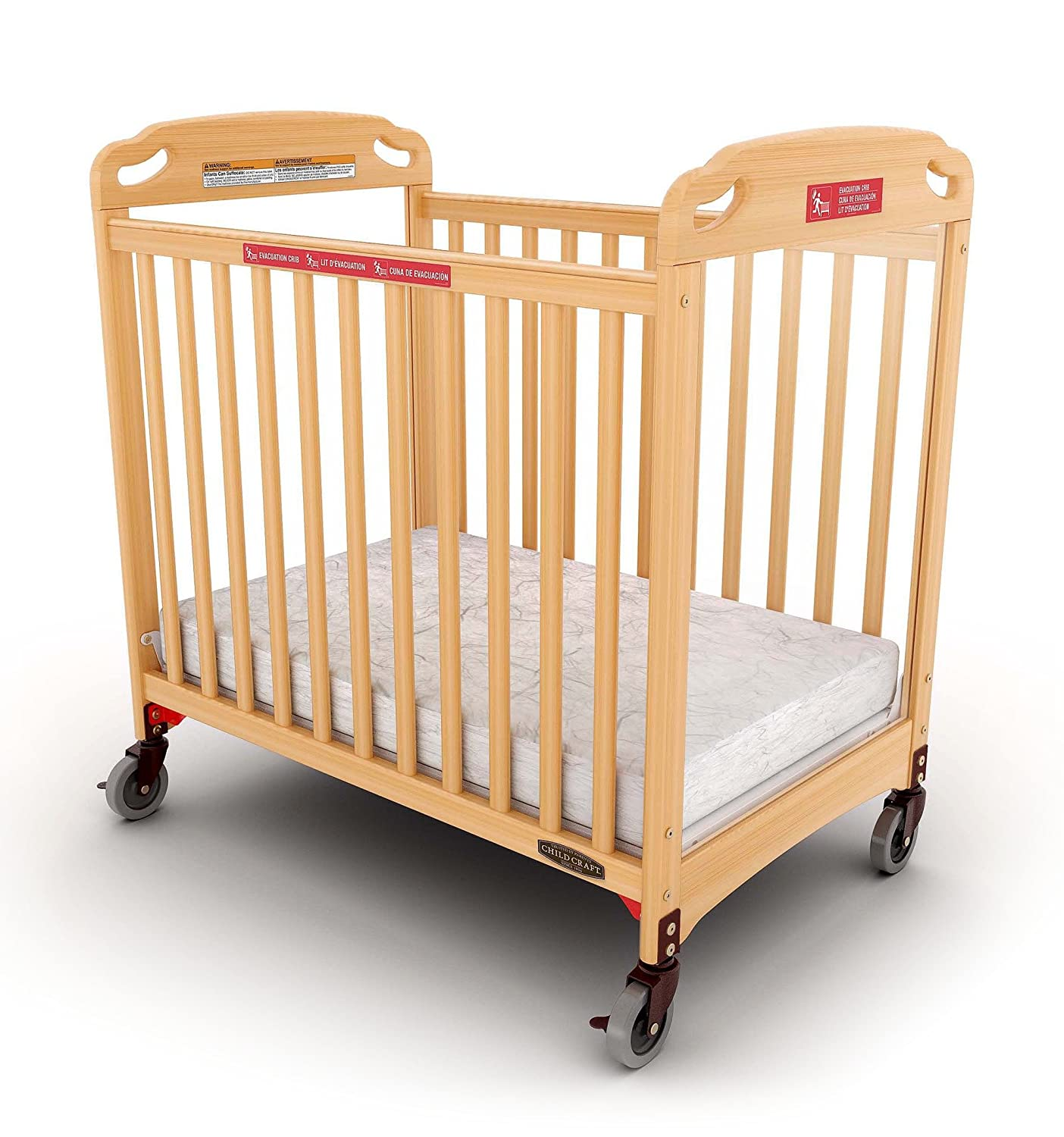 Child Craft Safe Haven Daycare Evacuation Compact Crib with Casters, Natural Foundations Worldwide Inc. F99042.04