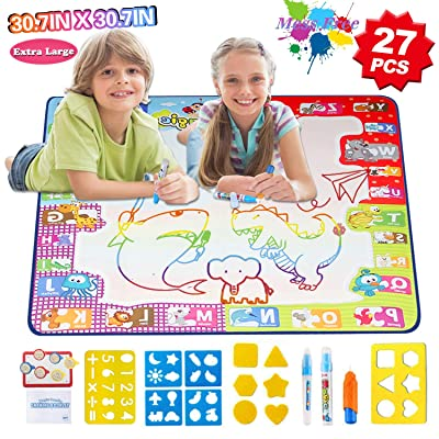 """HOMOFY Aqua Magic Mat Extra Large 30.7"""" X 30.7"""" Water Doodle Drawing Mat A for Kids Mess Free 7 Rainbow Colors Painting Educational Toys for 2 3 4 5 Year Old Girls Boys Toddlers: Toys & Games"""