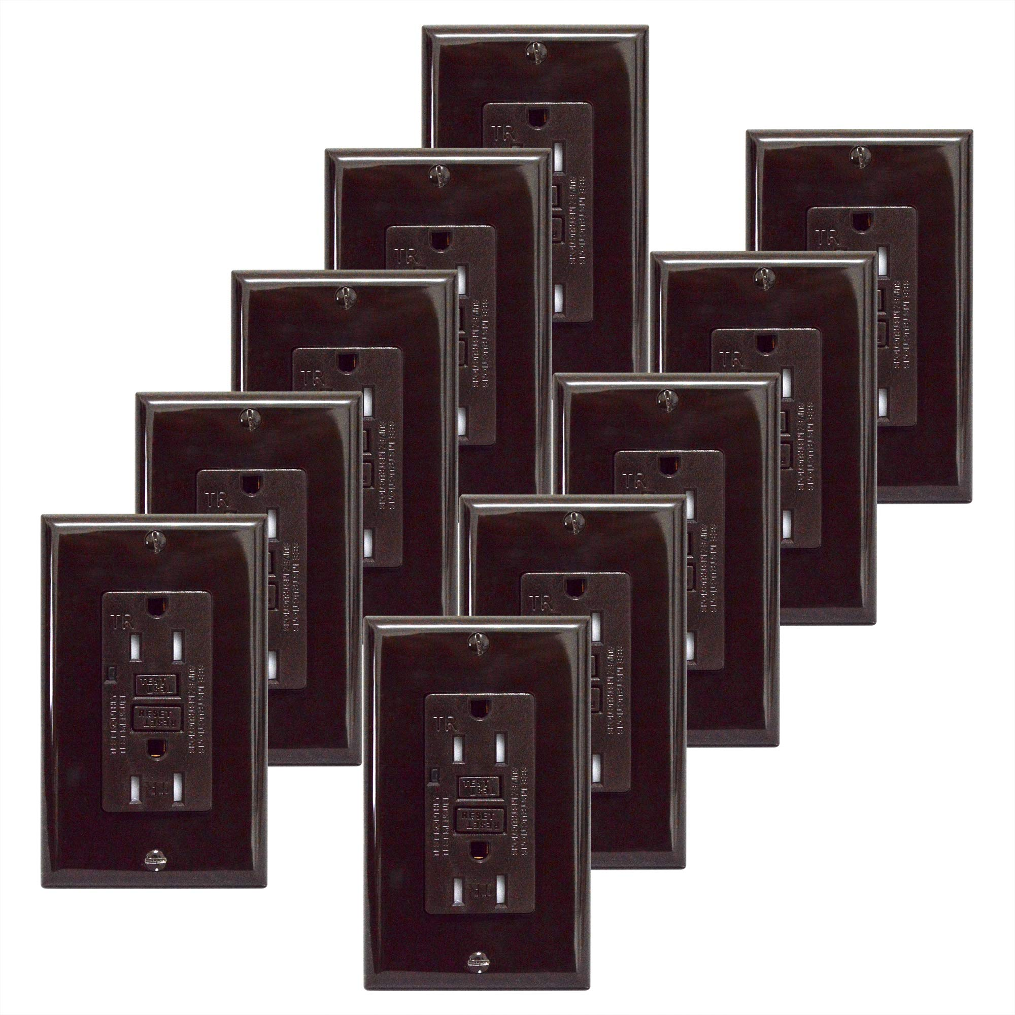 GFCI 15A Tamper Resistant Duplex Receptacle Standard Decorative Outlet with LED Indicator, Ground Fault Circuit Interrupter, Decorative Wallplate, Safelock Protection, UL Listed, Brown (10-Pack)