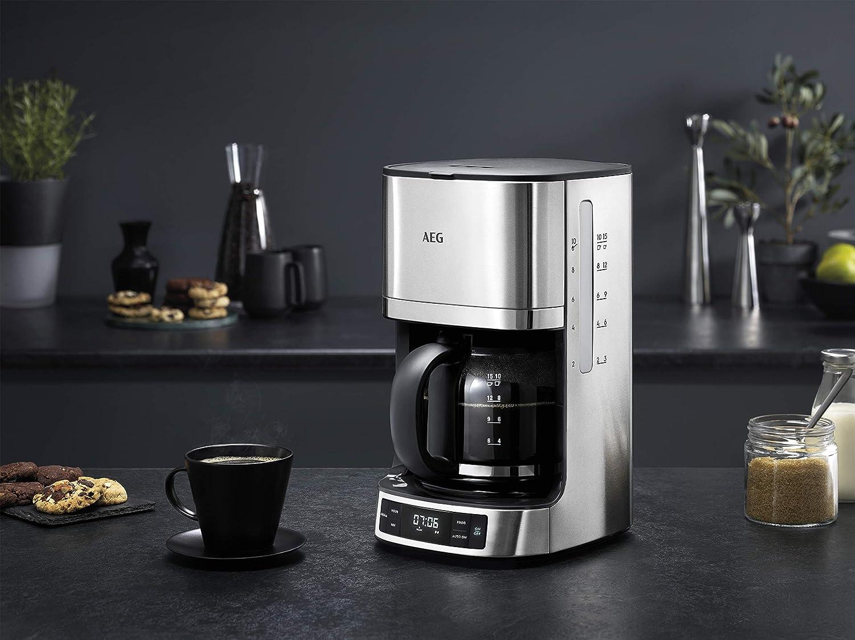 AEG KF7700 - Cafetera Programable 1,7 L, Auto apagado, 1100 W, 1,5 m, 12 tazas, Plateado, depósito del agua integrado: Amazon.es: Hogar