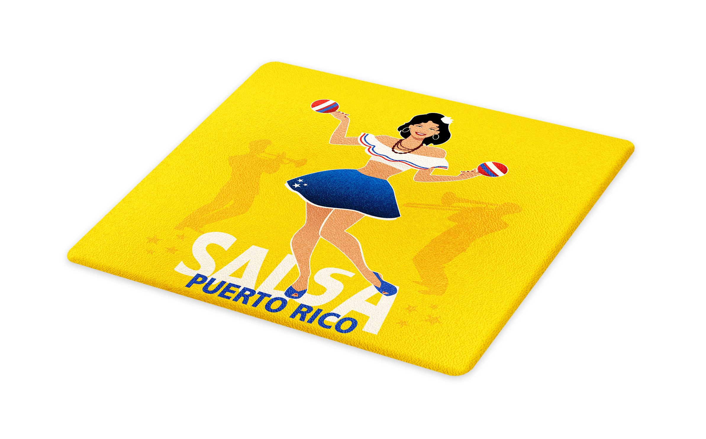 Lunarable Puerto Rico Cutting Board, Salsa Dancing Girl with Maracas Trombonist and Trumpeter Silhouette on Backdrop, Decorative Tempered Glass Cutting and Serving Board, Small Size, Multicolor