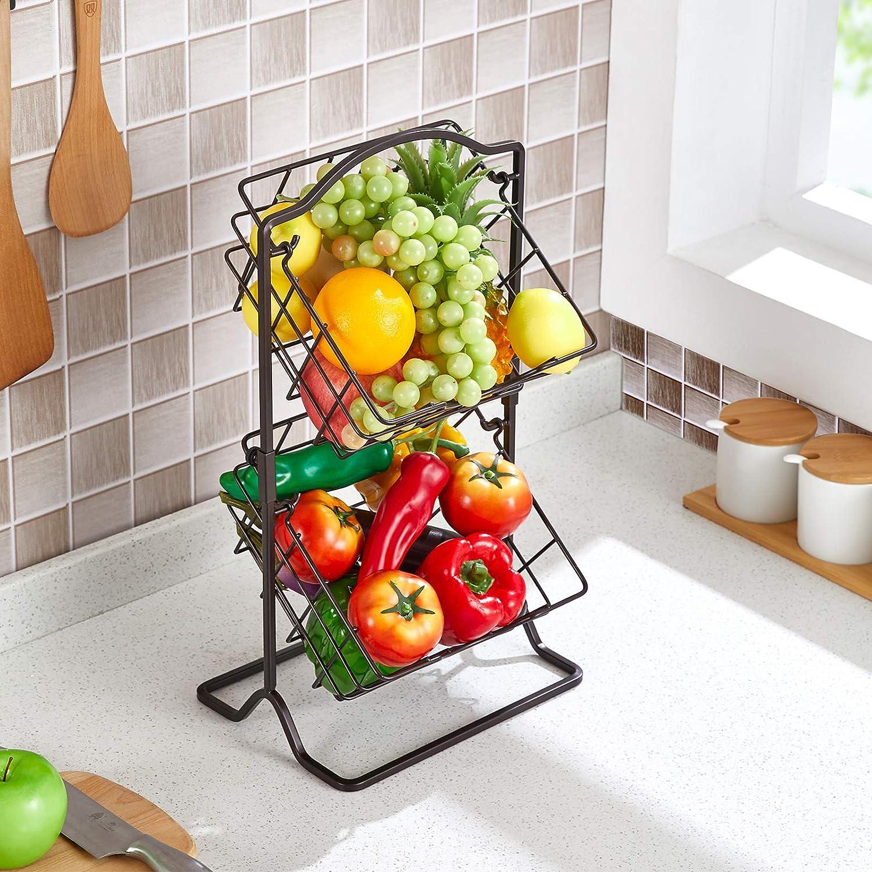 Fruit Basket Stand, 2 Tier Metal Fruit Hanging Basket, Vegetables Organizer Storage Basket Multipurpose Rack for Fruits, Veggies, Snacks, K-cup, Potato, Onion and Household Bathroom Items