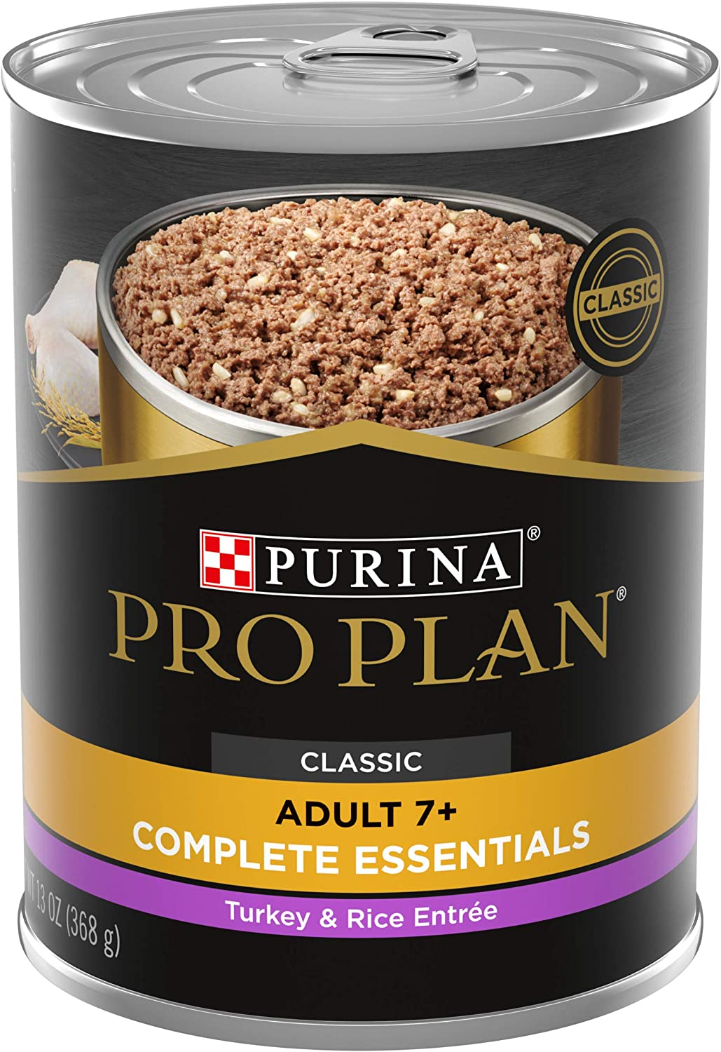 Purina Pro Plan High Protein Wet Dog Food, Senior Adult 7+ Turkey & Rice Formula - (12) 13 oz. Cans