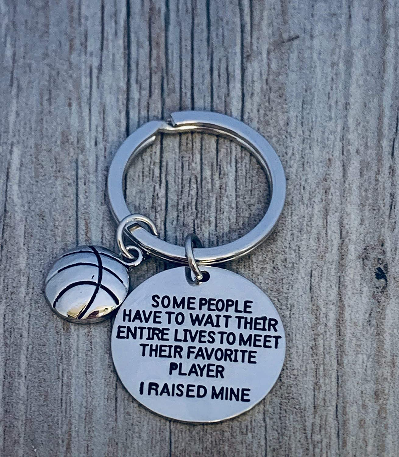 Sportybella Basketball Mom or Dad Keychain Some People Have to Wait Their Entire Lives to Meet Their Favorite Player Gift for Basketball Player Parents I Raised Mine
