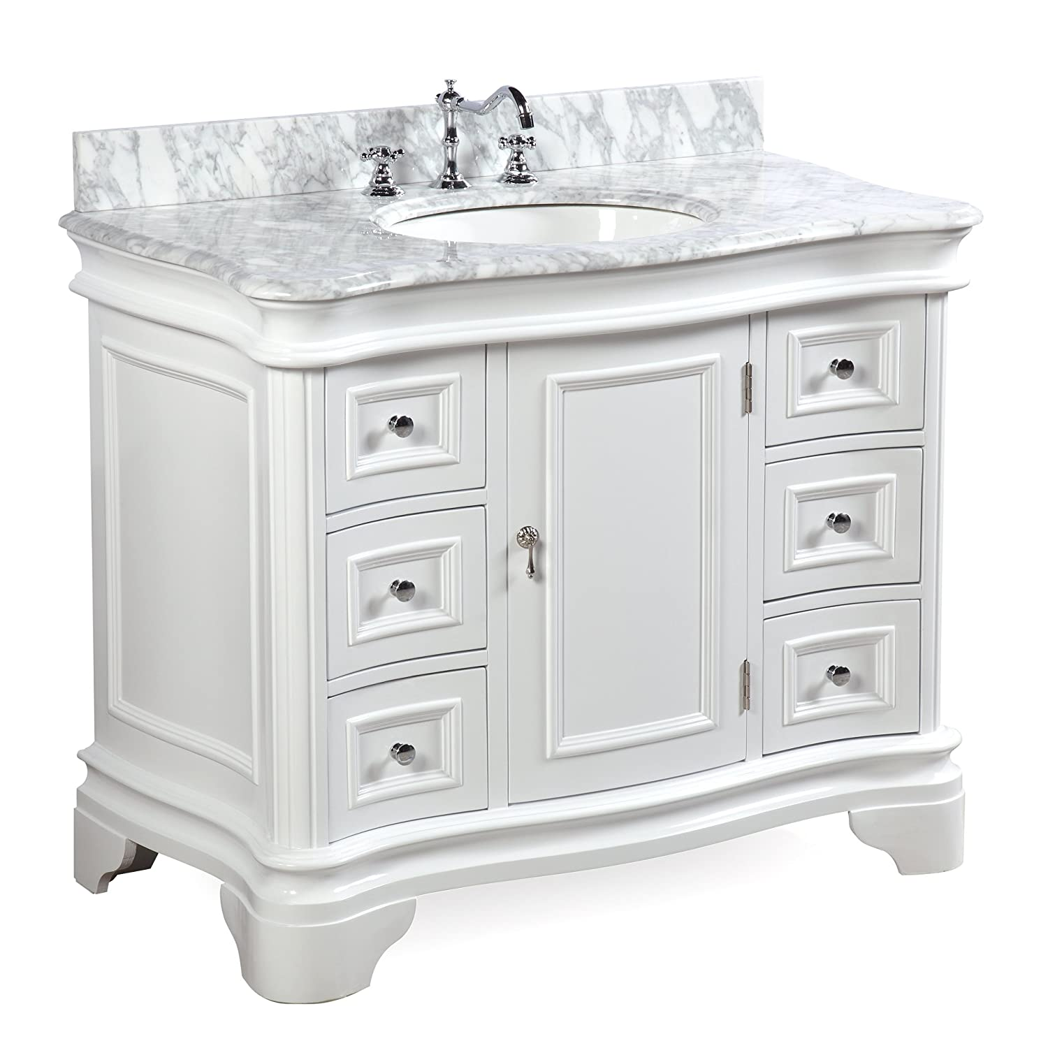 Etonnant Katherine 42 Inch Bathroom Vanity (Carrara/White): Includes White Cabinet  With Authentic Italian Carrara Marble Countertop And White Ceramic Sink ...