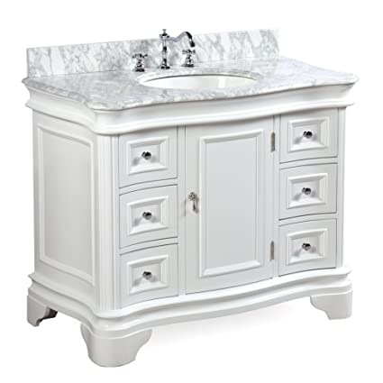 katherine 42 inch bathroom vanity carrara white includes white rh amazon com 42 inch white bathroom vanity base 42 inch white bathroom vanities