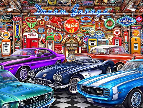 1968 Blue and White Camaro Michael Fishel Art Metal Sign