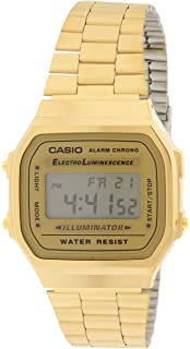 edf53cb26d2 Casio A168WG-9 Men s Vintage Gold Metal Band Illuminator Chronograph Alarm  Watch