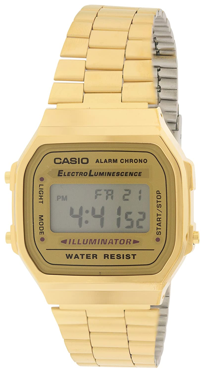 c28b51256dd Amazon.com  Casio A168WG-9 Men s Vintage Gold Metal Band Illuminator  Chronograph Alarm Watch  Watches