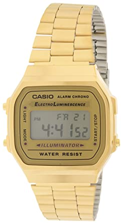 Amazon.com  Casio A168WG-9 Men s Vintage Gold Metal Band Illuminator ... bb662c0f2