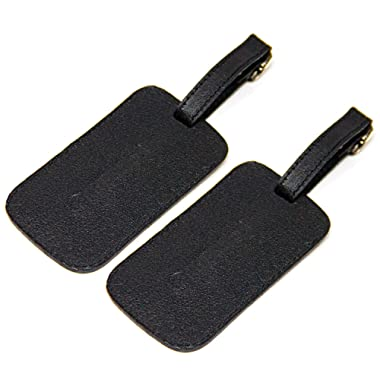 Logical Leather Luggage Tag Genuine Leather Travel ID Tags with Adjustable Leather Strap, Address Card and Privacy Cover, Black, Set of 2
