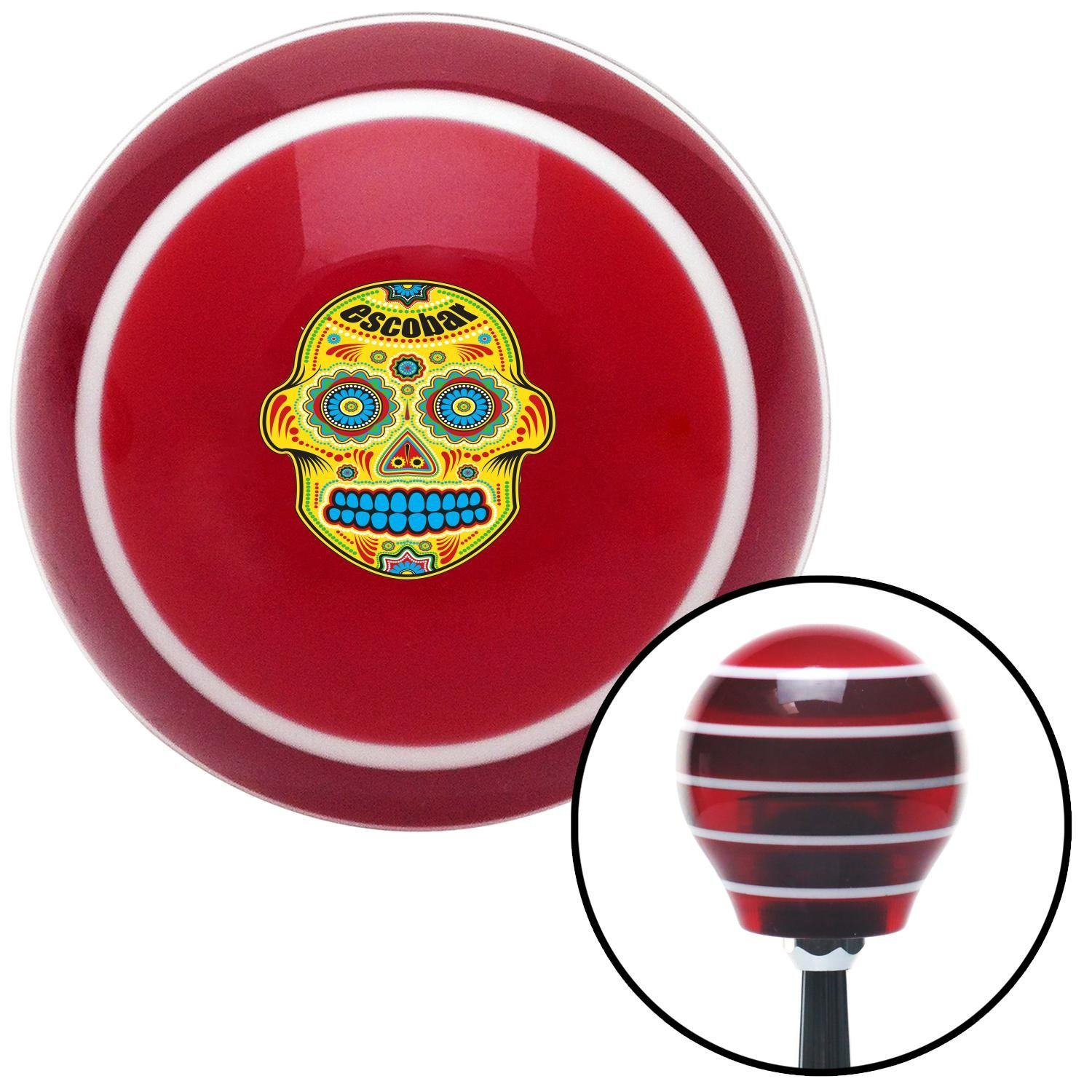 American Shifter 118364 Red Stripe Shift Knob with M16 x 1.5 Insert Escobar Day of Dead