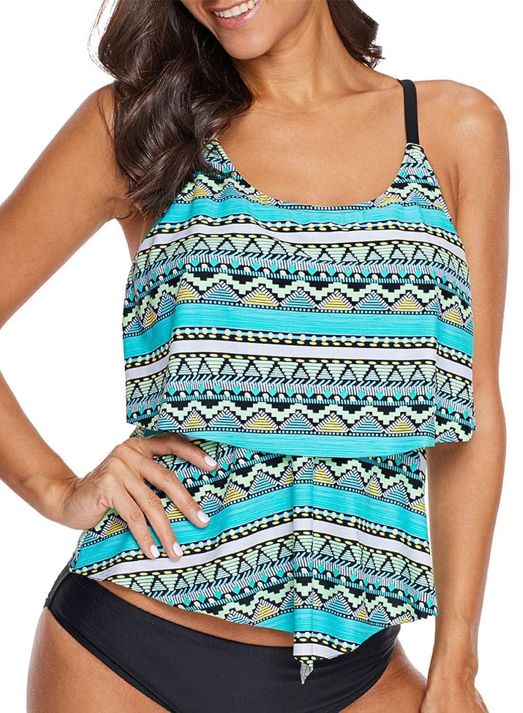 Aleumdr Womens Summer V Neck Color Block Printed Racerback Patchwork Padded Tankini Swim Top No Bottom AL410454-PP