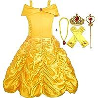 Alead Costume da Principessa Belle Vestiti ed Accessori di Guanti, Diadema, Bacchetta Magica Collana