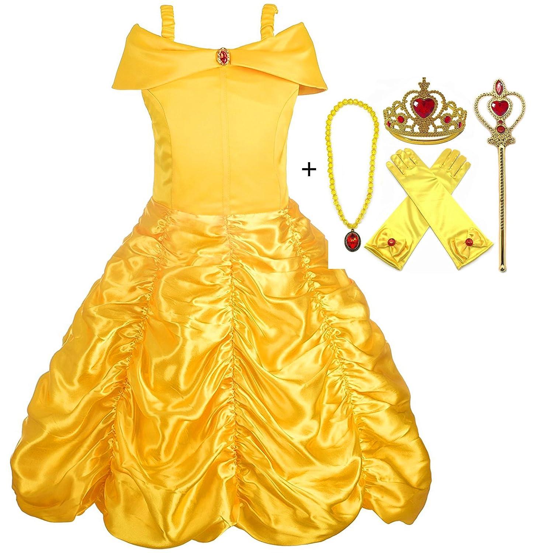 Alead Costume da Principessa Belle Vestiti ed Accessori di Guanti Bacchetta Magica Collana Diadema