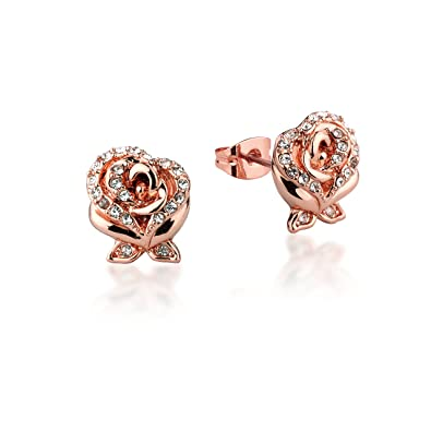 Disney Couture Beauty & the Beast Rose Gold-Plated Crystal Rose Earrings Paj7ygY
