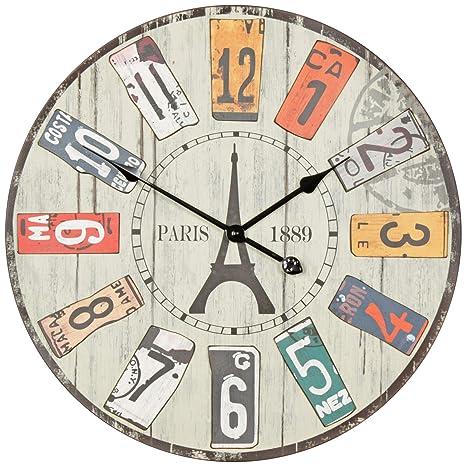 Wohnling Decoración Vintage Reloj de Pared XXL Diámetro 60 cm Paris | Material Mix Madera Metal ...