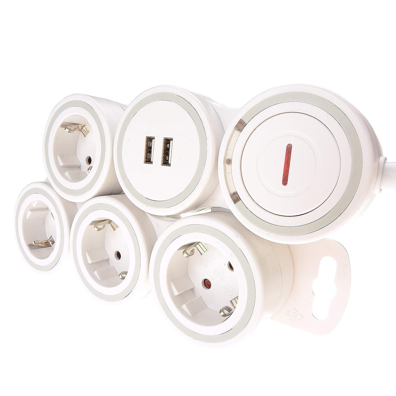 Flexible regleta de tensión 4 enchufes con USB - Regleta con interruptor se adapta flexible en sus condiciones espaciales en Y protege la consola en Rayo: ...